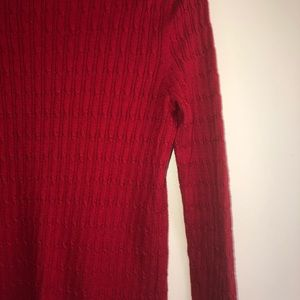Talbots Sweaters - Talbot's Red Ribbed Turtleneck Collar Sweater